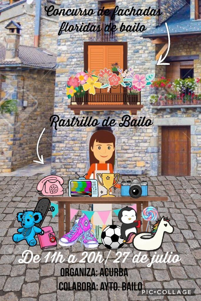 Este sábado 27 de julio en Bailo celebramos nuestro rastrillo de verano y la I edición del concurso de fachadas floridas.